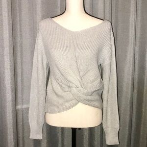 Sweaters - CAMMIE Twist Front V Neck Sweater In Gray